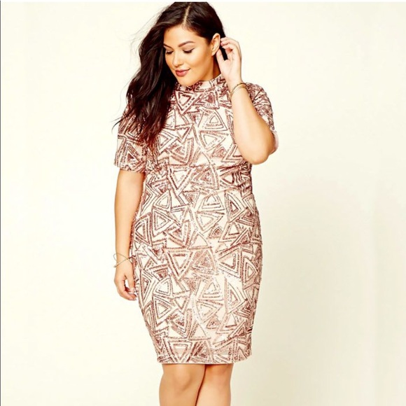 Forever 21 Dresses | Host Pickrose Gold Sequin Plus Size Dress ...
